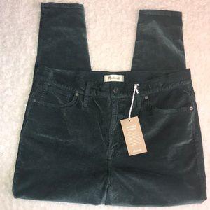 Madewell Velvet Jeans Green 33P High Rise Skinny